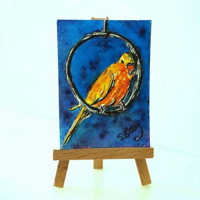 Budgie painting ORIGINAL ACEO