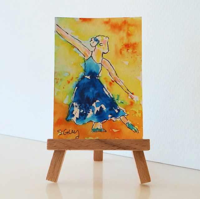 Ballet dancing miniature painting ORIGINAL ACEO