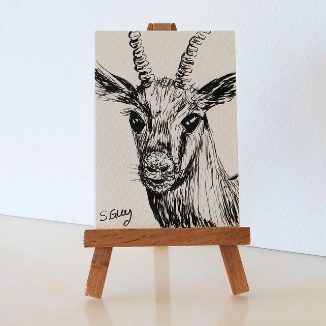 Antelope picture painting ORIGINAL ACEO Mini miniature