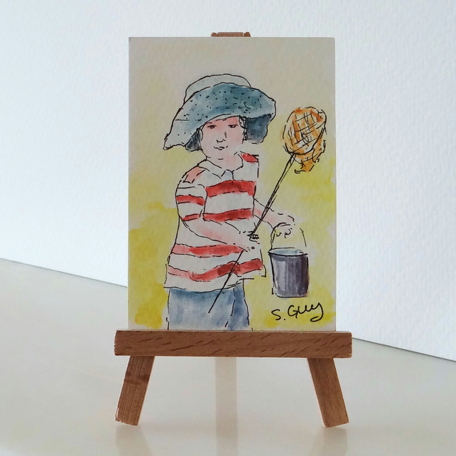 Children fishing at the rockpool. Miniature painting ORIGINAL ACEO