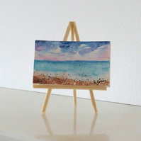 Seascape Ocean Beach Panoramic Mini ORIGINAL Painting Dolls House Mini Folksy