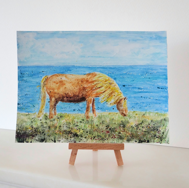 Horse painting ORIGINAL  Cornwall pony