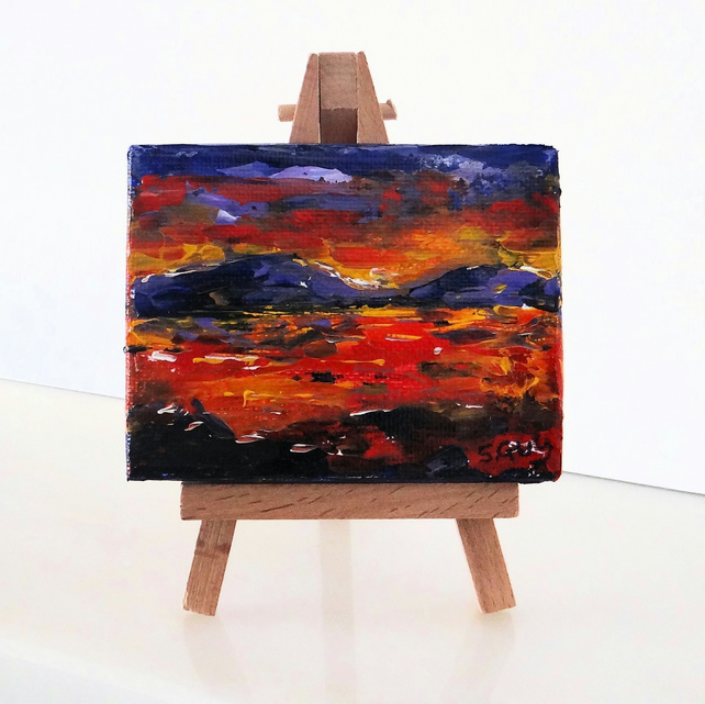 Red and purple sunset landscape miniature canvas ACEO including easel