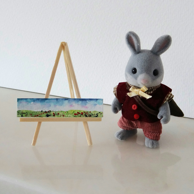 Landscape Painting: Miniature panoramic ORIGINAL artwork for your dollhouse
