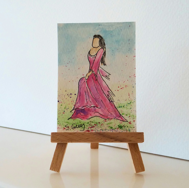 Folk dance miniature painting ORIGINAL ACEO