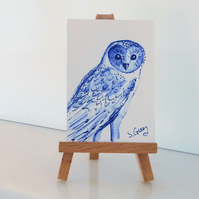 Barn Owl miniature painting ORIGINAL ACEO