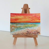 Sunset Beach Seaside Painting ORIGINAL ACEO Miniature