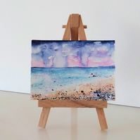 Stormy Sunset Beach Seaside Painting ORIGINAL ACEO Miniature
