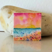 Sunset Beach Painting Inchie Inchies Original Miniature Art