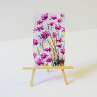 Pink flowers miniature dollhouse painting