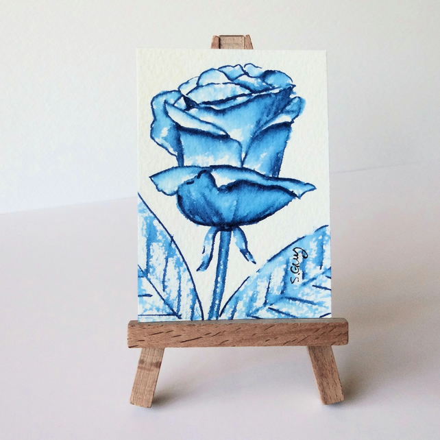 Miniature Rose Watercolour ACEO Original