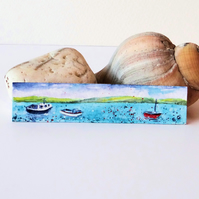 Harbour Boats Miniature Painting ORIGINAL
