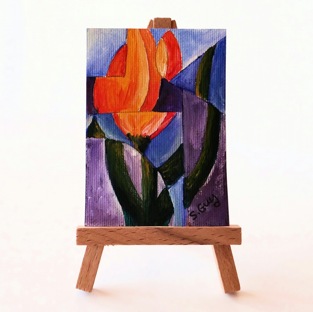 ACEO tulip absract cubism