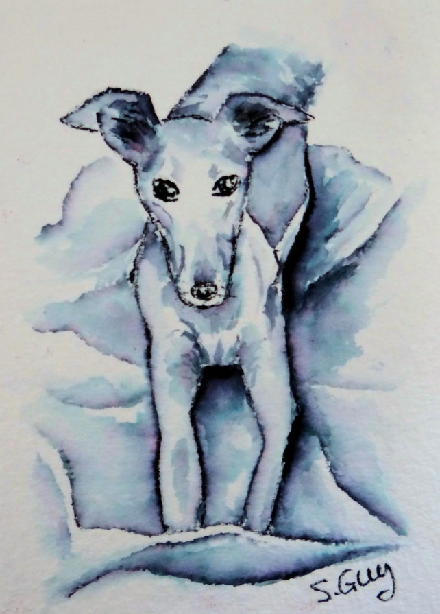 Lily the Lurcher Pet Portrait Miniature RESERVED FOR CRINHUNT