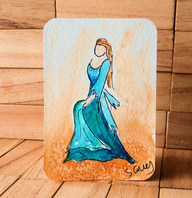 Medieval dance painting ORIGINAL ACEO