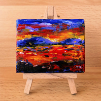 Red and purple sunset landscape small box canvas ACEO