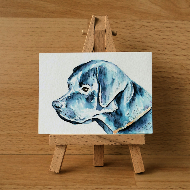 Black Labrador custom painting ORIGINAL ACEO reserved for CRINHUNT