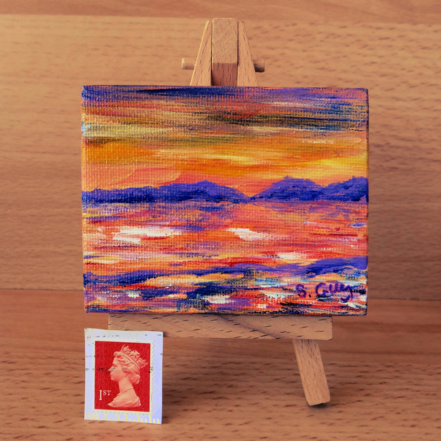 Orange purple and yellow sunset landscape small box canvas ACEO