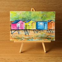 Beach Huts Dolls House Painting Original Miniature Art
