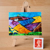 Colourful Mountains miniature painting ORIGINAL