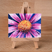 Pink Daisy Flower ORIGINAL ACEO