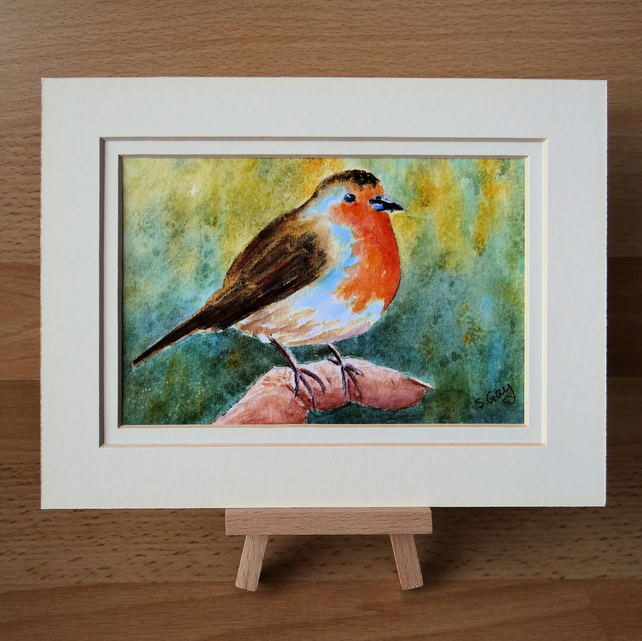 Robin in hand painting Original Watercolour