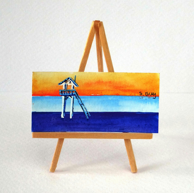Californian beach miniature painting