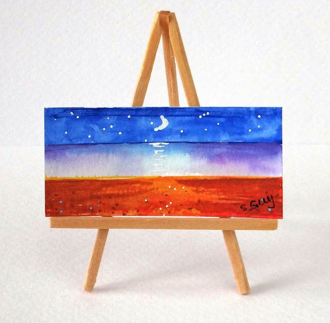 Moon lit scene Miniature Painting