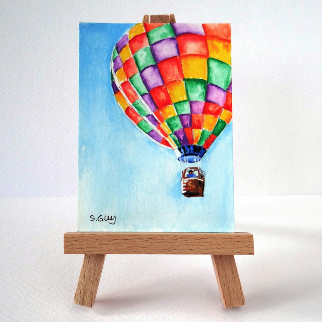 Hot air balloon miniature painting ORIGINAL ACEO