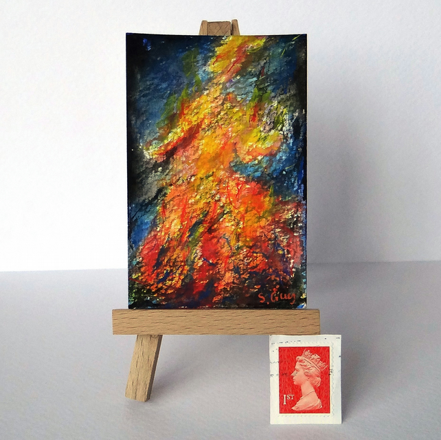 Dancing Fire Nymph ORIGINAL ACEO