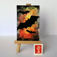 Bat silhouette against fire ORIGINAL ACEO