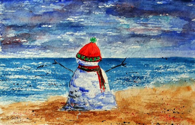 Christmas Snowman on the beach small quirky painting ORIGINAL