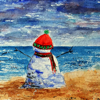 Snowman on the beach small quirky painting ORIGINAL