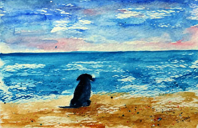 Black Labrador on the beach small painting ORIGINAL