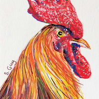 Cockerel ORIGINAL ACEO