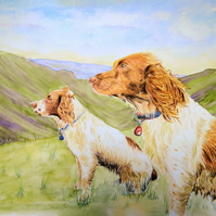 6 x 8 inch Double Pet Portrait Painting Commission in a mount