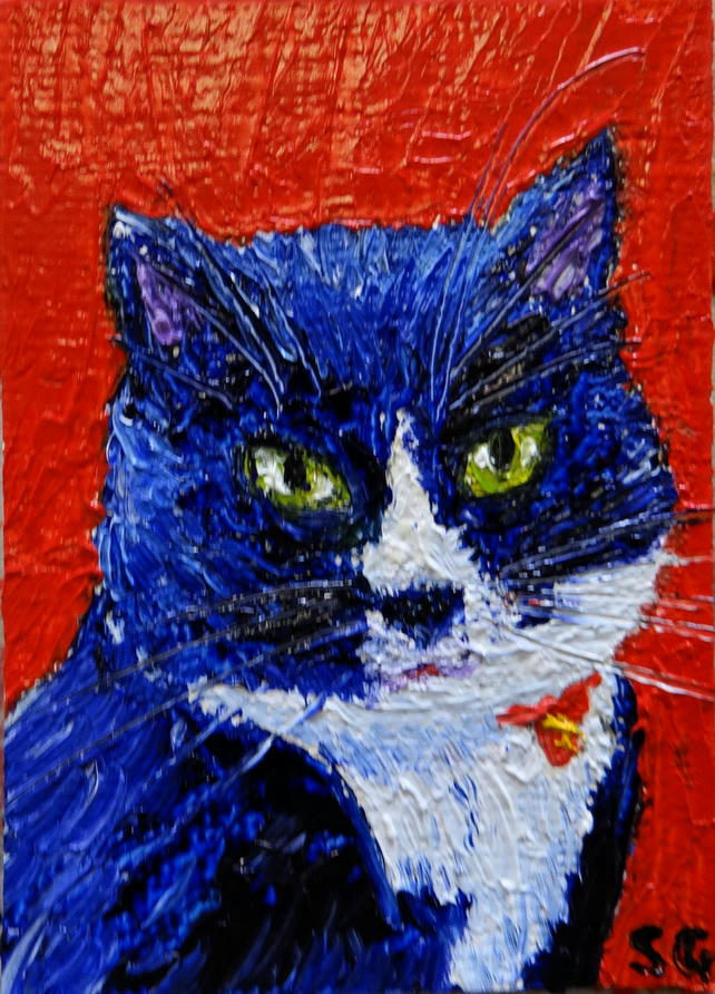 Pet Portrait Miniature in Oils