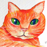 Ginger cat miniature painting ORIGINAL ACEO