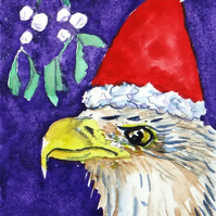 Christmas Eagle Painting ACEO