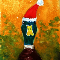 Christmas Duck Painting ACEO