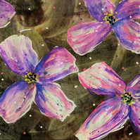 Pink flowers painting ACEO