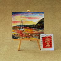 Sailing Sunset Miniature Painting