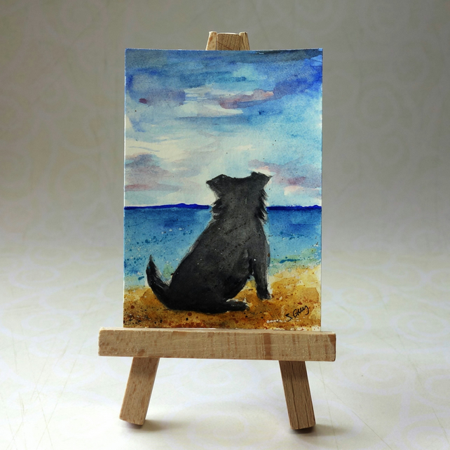Miniature Schnauzer at the beach Painting ACEO