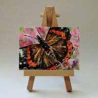 Red Admiral Butterfly Miniature Painting