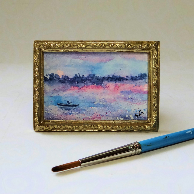 Framed dolls house painting lake