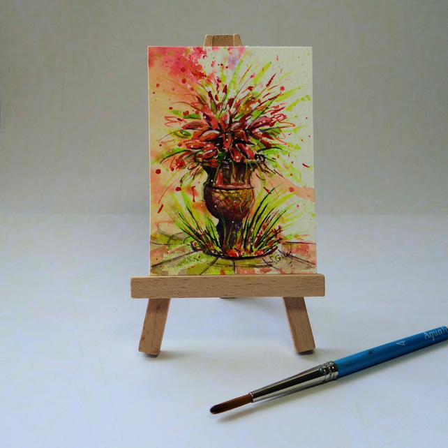 Flower Urn Watercolour ACEO