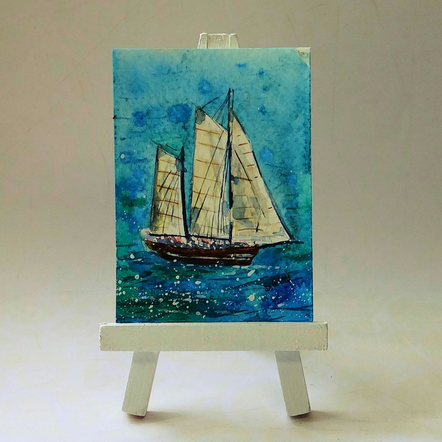 Three masted sailing ship painting