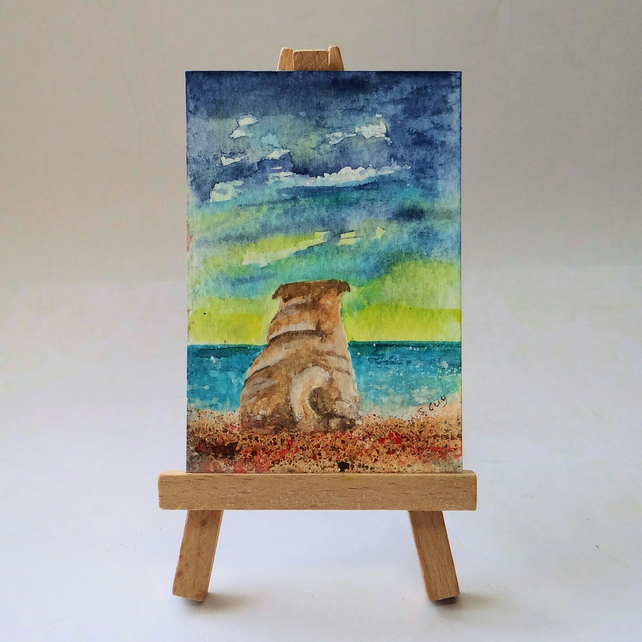 Pug at the beach painting ACEO