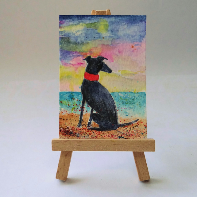 Greyhound at the beach painting ACEO