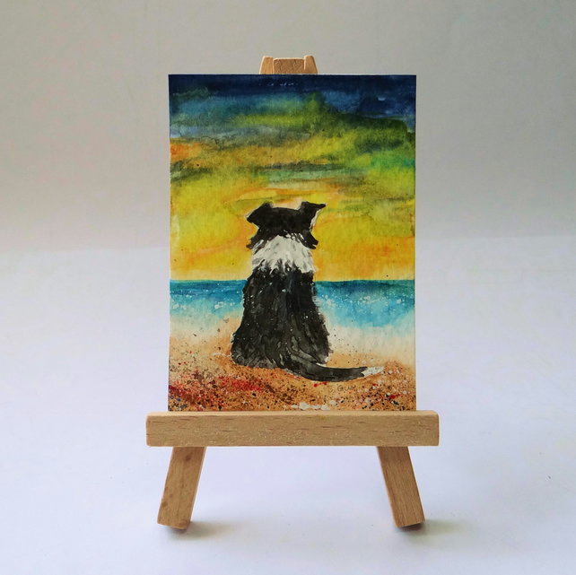 Collie at the beach painting ACEO